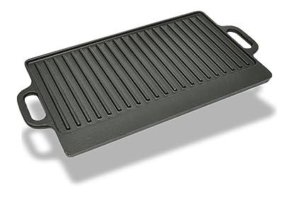 vidaXL BBQ Barbacoa Placa De Parrilla Plancha De Hierro Fundido Reversible con 2 Lados