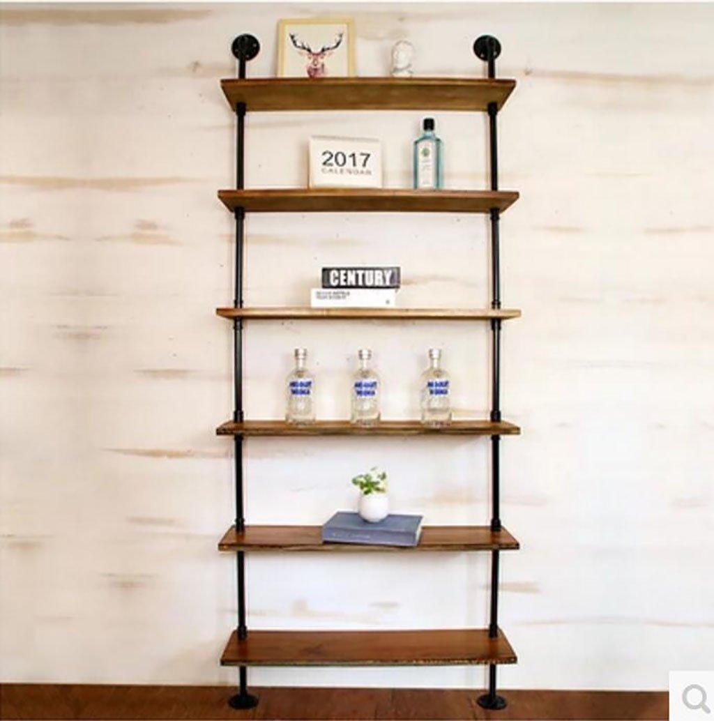 ソリッドウッドの壁の棚の鉄の金属の水パイプの棚壁の吊り棚の本棚のストレージラック ウォールマウントストレージシェルフ (色 : 6 Tiers, サイズ さいず : 50 cm 50 cm) B07DPFMW58 6 Tiers 50 cm 50 cm