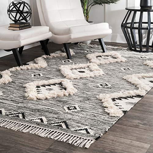 nuLOOM Moroccan Shag Fringe Wool Rug, 5' x 8', Grey