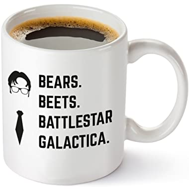 Bears Beets Battlestar Galactica Funny 11 oz Coffee Mug - Inspired By TV Show The Office Quote - Unique Birthday Gift For Dwight Schrute Fans - Dunder Mifflin Christmas Present