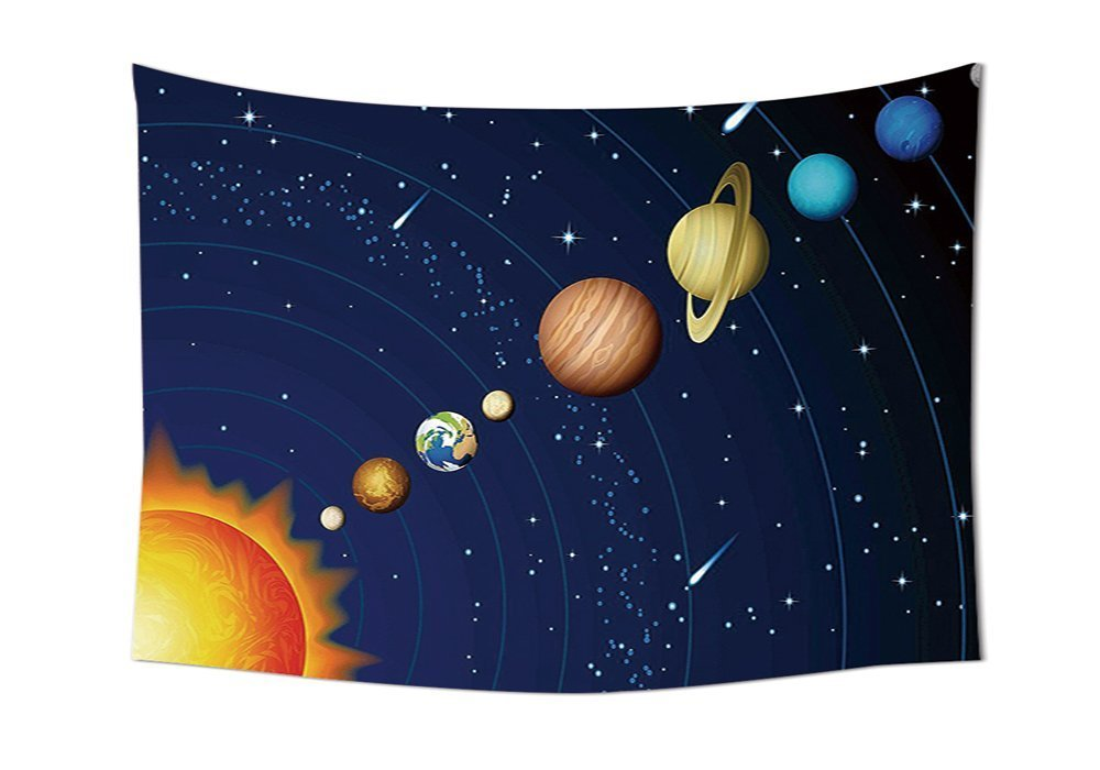asddcdfdd Space Tapestry Decor Solar System with Sun Uranus Venus Jupiter Mars Pluto Saturn Neptune Image Wall Hanging for Bedroom Living Room Dorm Dark Blue Orange