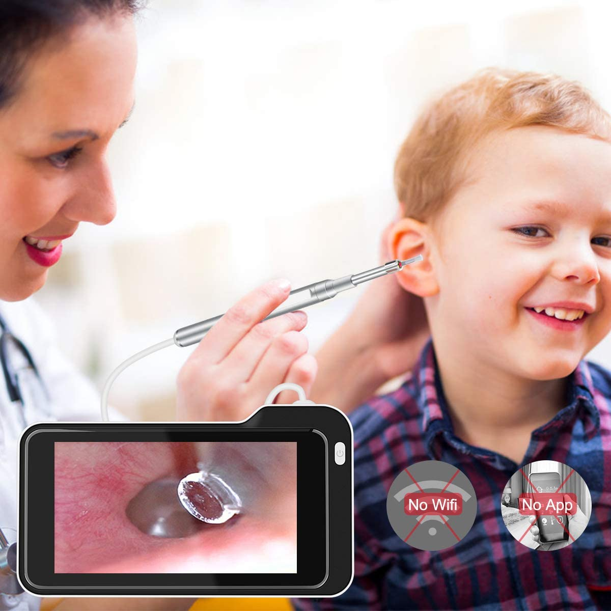 AsperX 5.0 MP Ear Scope with 3.9mm Handheld Ear Camera 1080P HD ...