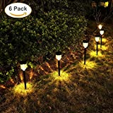 Cheap GELOO Solar Outdoor Lights 6-Pack Solar Pathway Lights Outdoor Garden Lights Outdoor Landscape Lighting for Lawn, Yard, Patio, Driveway, Walkway, Warm White