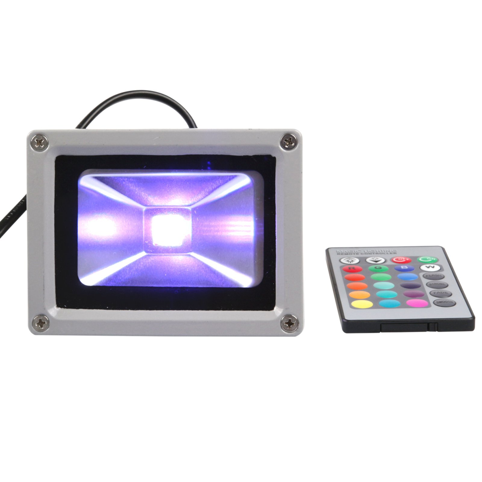 Lemonbest® 10w High Power RGB Waterproof LED Flood Light Project Light Wall Wash Light (16 Different Color Tones) with Remote Control