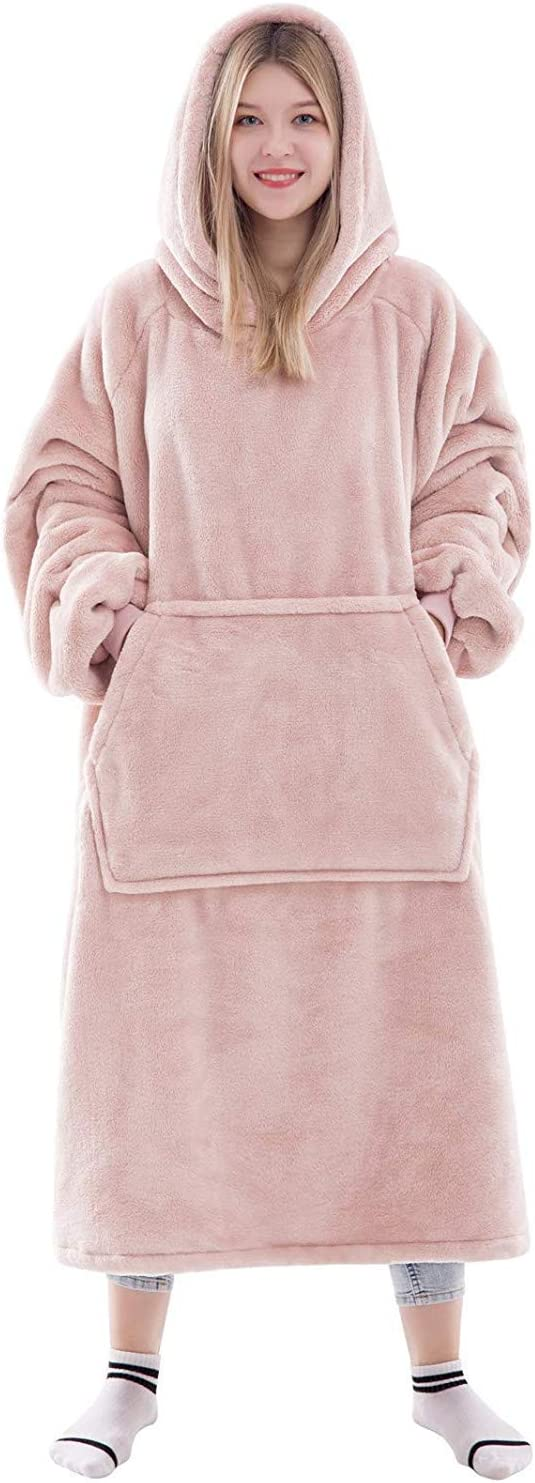 Waitu Wearable Blanket Hoodie Sweatshirt for Adult and Child, Super Warm and Cozy Big Hoodie Blanket for Women and Men, Flannel Blanket with Sleeves and Giant Pocket - Pink