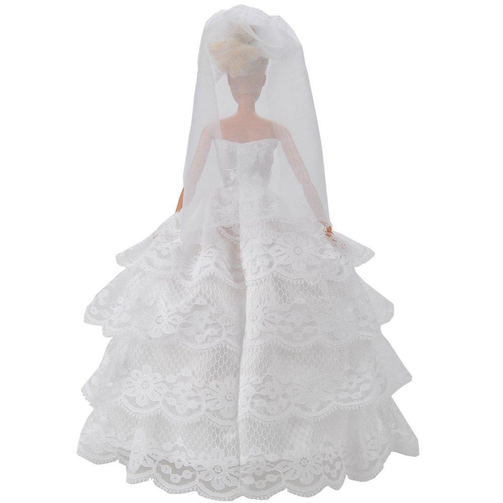 5a1e03f58c1fe Barbie Wedding Gown with White Lace Details Complete with Veil Fit the  Barbie Doll By Webeauty