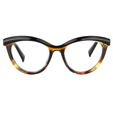 6af83f03eee Zeelool Women s Oversized Browline Cat Eye Glasses Frame with Clear Lens  Sean FP0124-01 Tortoise