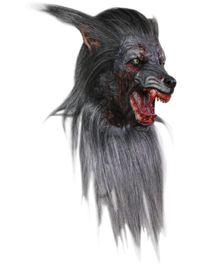 Men's Wolf Werewolf Mask Halloween Costume with Fur and Teeth