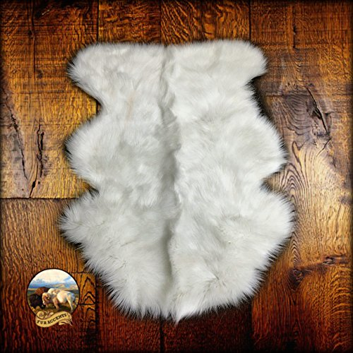 Fur Accents Faux Sheepskin White Mini Pelt 2' (18''x24'', Off White) (Cabin In The Woods Props For Sale)