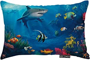 Nicokee Throw Pillow Cover Under Sea Fish Sharks Decorative Pillow Case Home Decor 20x12 Inches Pillowcase