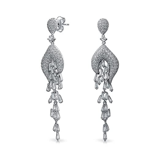 6132dfb30564 Image Unavailable. Image not available for. Color  Modern Bride Bridal Prom  Waterfall CZ Chandelier Earrings Long Leaf Silver Tone Cubic Zirconia  Rhodium ...