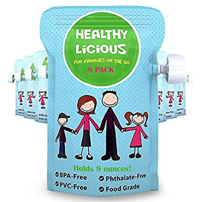 Refillable Pouches for Baby Food Reusable Kids Snacks Puree Apple Sauce Squeeze (8 Count) by Healthylicious that we recomend personally.