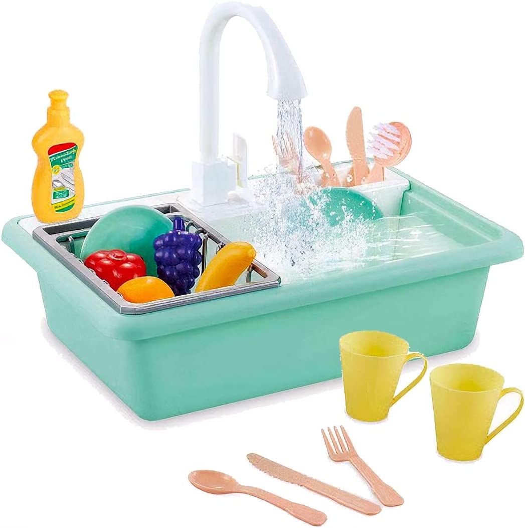 Liberty Imports Pretend Play Toy Kitchen Sink Playset with Running Water | Electric Dishwashing with Working Faucet, Dish Rack, Utensils and Play Food (20 Pieces)