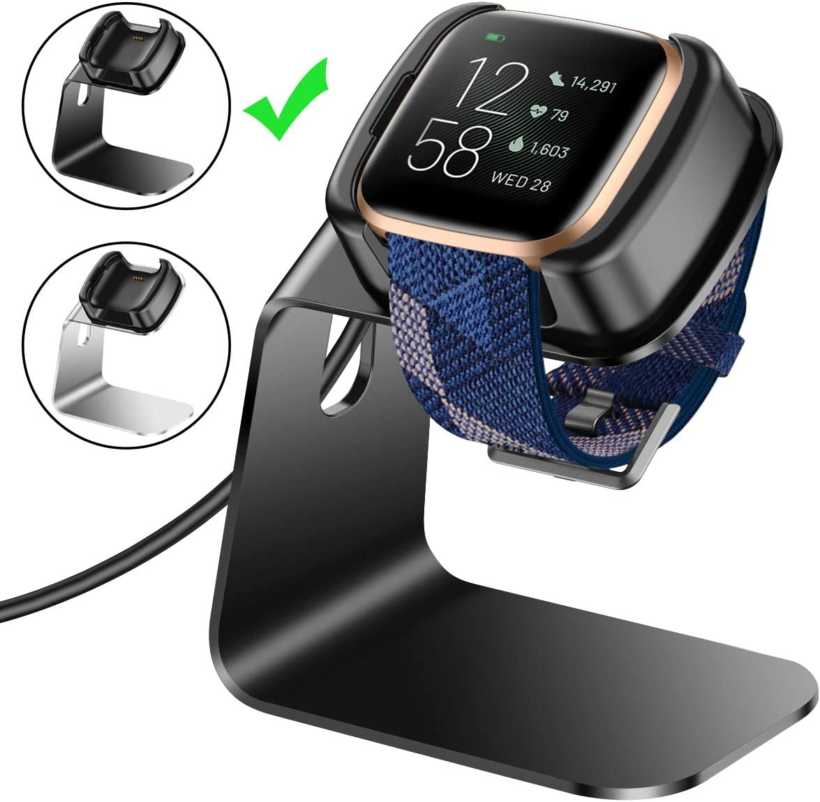 Replacement USB Charging Cable Cord Cradle Dock Accessories for Versa 2 Smartwatch Only CAVN 3ft Charger Cable Compatible with Fitbit Versa 2 Charger 2019 September Released