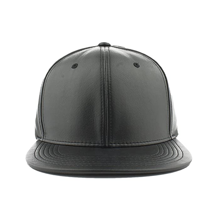 3357b78dbd5 Amazon.com  Pitbull Cap Men s Blank Faux Leather Snapback Hat (Black ...