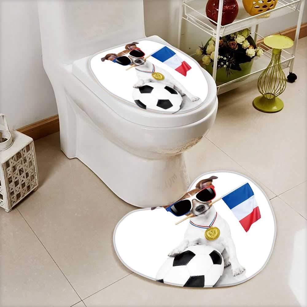 color08 W28\ color08 W28\ Printsonne 2 Piece Anti-Slip mat Set Jack Russell Dog Football Anti-Slip Water Absorption