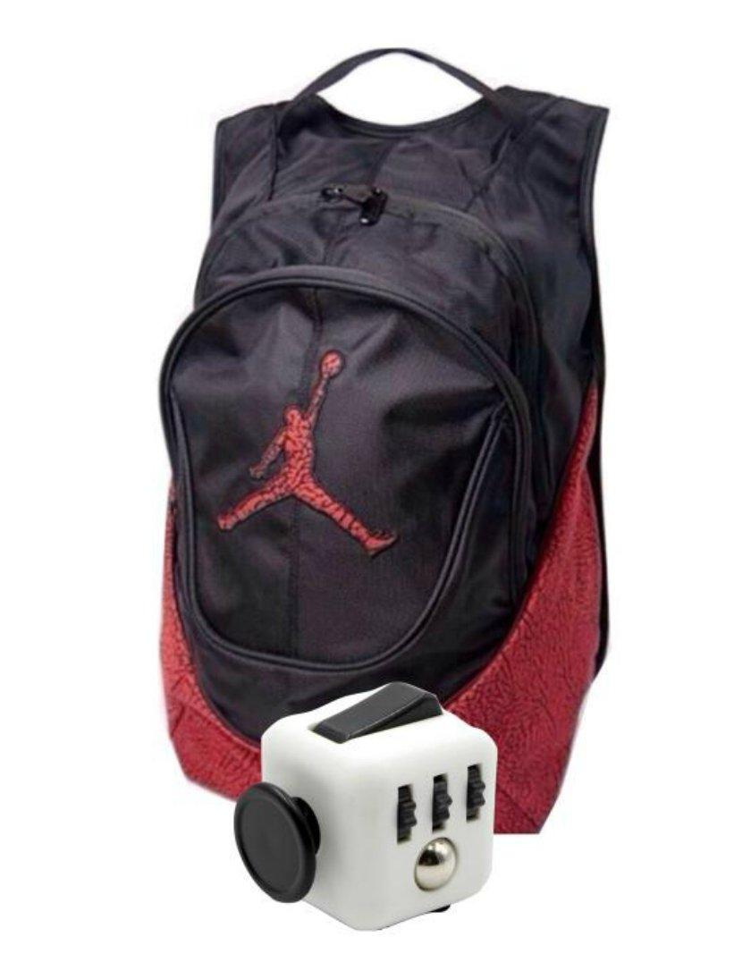 Nike Air Jordan Jumpman 23 Book Bag Backpack Red Elephant Print with FREE Fidget Cube and BONUS FREE Fidget Spinner