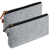 ProCase Pencil Bag Pen Case, Felt Students Stationery Pouch Zipper Bag for Pens, Pencils, Highlighters, Gel Pen, Markers, Eraser and other School Supplies -2 Pack, Gray