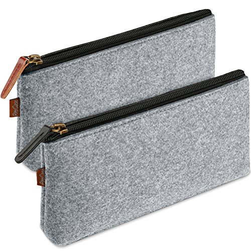 ProCase Pencil Bag Pen Case, Felt Students Stationery Pouch Zipper Bag for Pens, Pencils, Highlighters, Gel Pen, Markers, Eraser and Other School Supplies -2 Pack, Grey