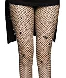 Women's High Waist Fishnet Stockings Sparkle Rhinestone Tights of MERYLURE (One Size, Black Grid)