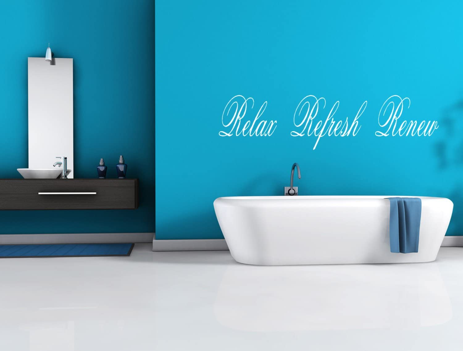 "Relax Refresh Renew Bathroom Spa Wall Decal Letters 11"" x 42"""