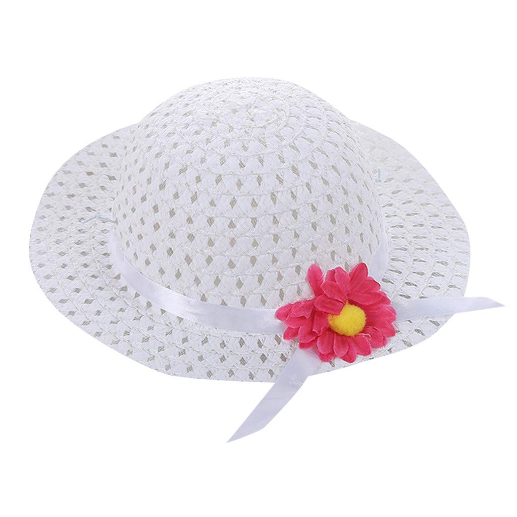 DTwide Toddler Breathable Wide Brim Kids Straw Sun Hat Meshed Summer Beach Knit Cap
