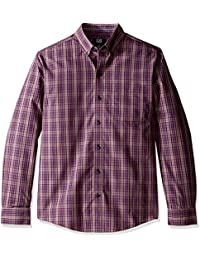 Men's Big and Tall Long Sleeve Wrinkle Free Garden Plaid