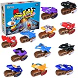 FUN LITTLE TOYS Mini Car Toys for Kids Toddlers Boys, Party Favor Pinata Fillers,Motorcycle,12 Pack Assorted Vehicle Racing Car,Pull Back Vehicles,Motorbike, Press and Go Car Play Set