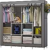 UDEAR Canvas Portable Large Wardrobe Free Standing Clothes Storage Organizer (Grey)