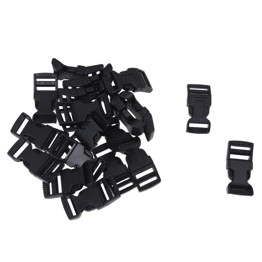 RETYLY 20 Pcs Hebillas plasticas del Lanzamiento de Lado Curvo para Cintas 15 mm
