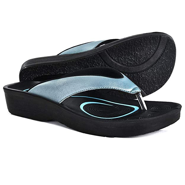 AEROTHOTIC Original Orthotic Comfort Thong Sandal and Flip Flops with Arch Support for Comfortable Walk (US Women 8, Pearly Blue) best plantar fasciitis flip flops for women