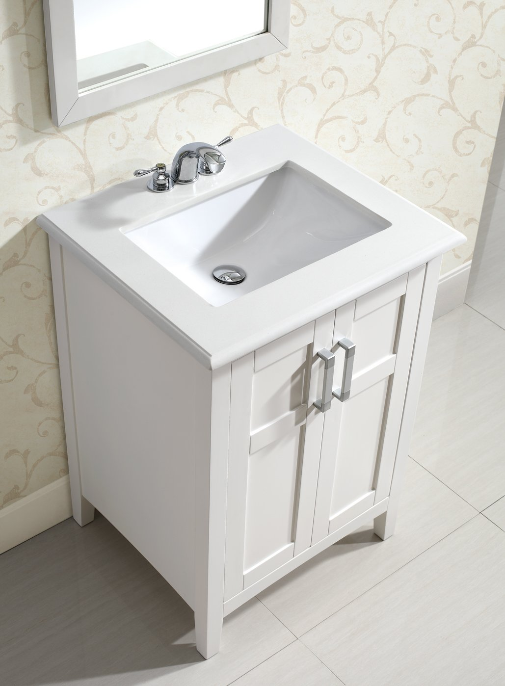 24 in bathroom vanity with sink. Simpli Home Winston 24  Bath Vanity with Quartz Marble Top White Sinks Amazon com