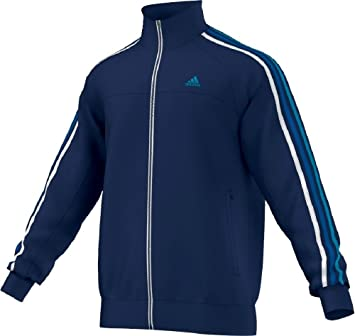 adidas Herren Trainingsjacke Essentials 3-Stripes Polyester Tracktop, Night  Blue F13 / White,