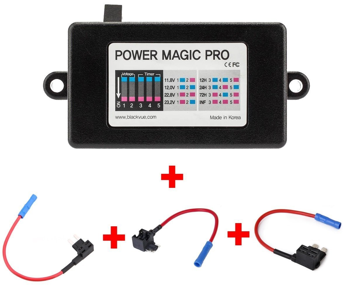 BlackVue Power Magic Pro with 2 x Low Profile, 2 x Mini, 2 x ATO Fuse Taps and 5amp Fuses for ANY Blackbox Dash CAM Parking Mode