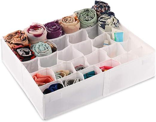 Foldable Removable Underwear Socks Ties Storage Box 30 Cells Drawer Organizer