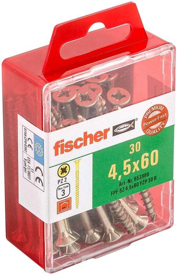 Fischer 653960 R/ápido encendido lote de 30 tornillos avellanados 4,5 x 60 mm tg galvanizado pz amarilla