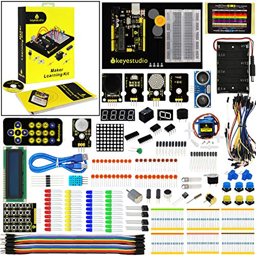 KEYESTUDIO Starter Kit Breadboard Components Set Motor IR Dot Matrix PIR Sensor etc.for Arduino Programming Education, with Controller R3 Board and Tutorial, Electronics Project STEM Kits for Adults