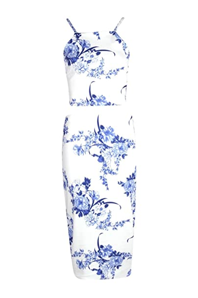 633b8f949161d5 Boohoo Womens Penelope Porcelain Print Top & Midi Skirt Co-ord Set in Blue  size