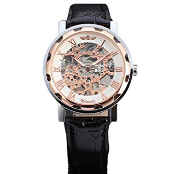 joyliveCY Pu Leather Band Automatic Mechanical Skeleton Watch For Men Fashion Gear Wrist Watch Reloj Army