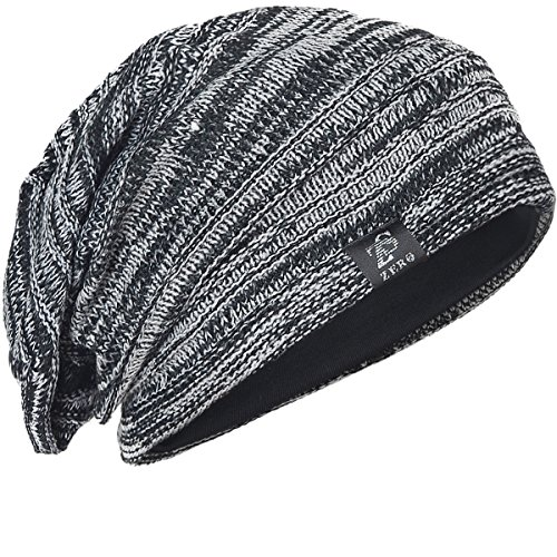 FORBUSITE Mens Slouchy Long Oversized Beanie Knit Cap for Summer WinterB08 (B5001x-Black w Grey) ()