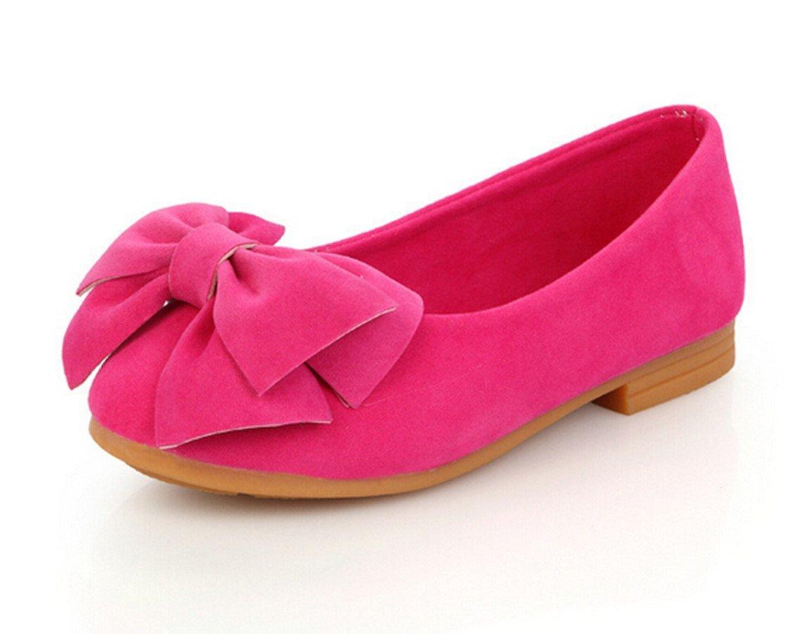 Bumud Girl's Adorable Bow Slip On Ballerina Flat Dress Shoe(Toddler/ Little Kids) (9 M US Toddler, Hot Pink)