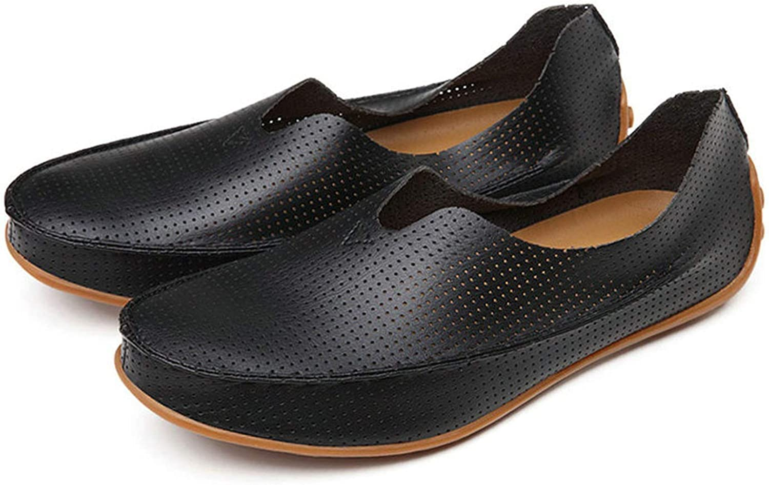 Hollow Out Breathable Summer Split Leather Casual Shoes Men Lovers Couple Flat Loafer Shoes,108 Black,6.5