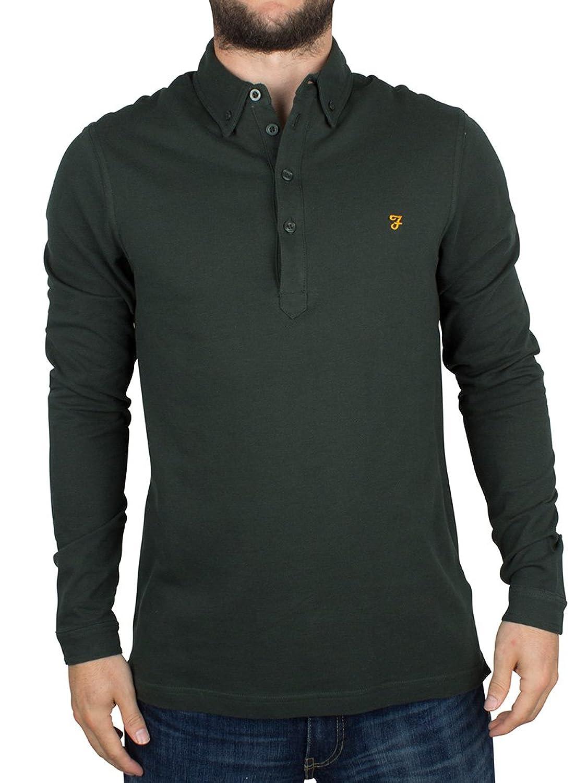 Farah Vintage Herren Longsleeved Merriweather Logo-Polo-Hemd, Grün