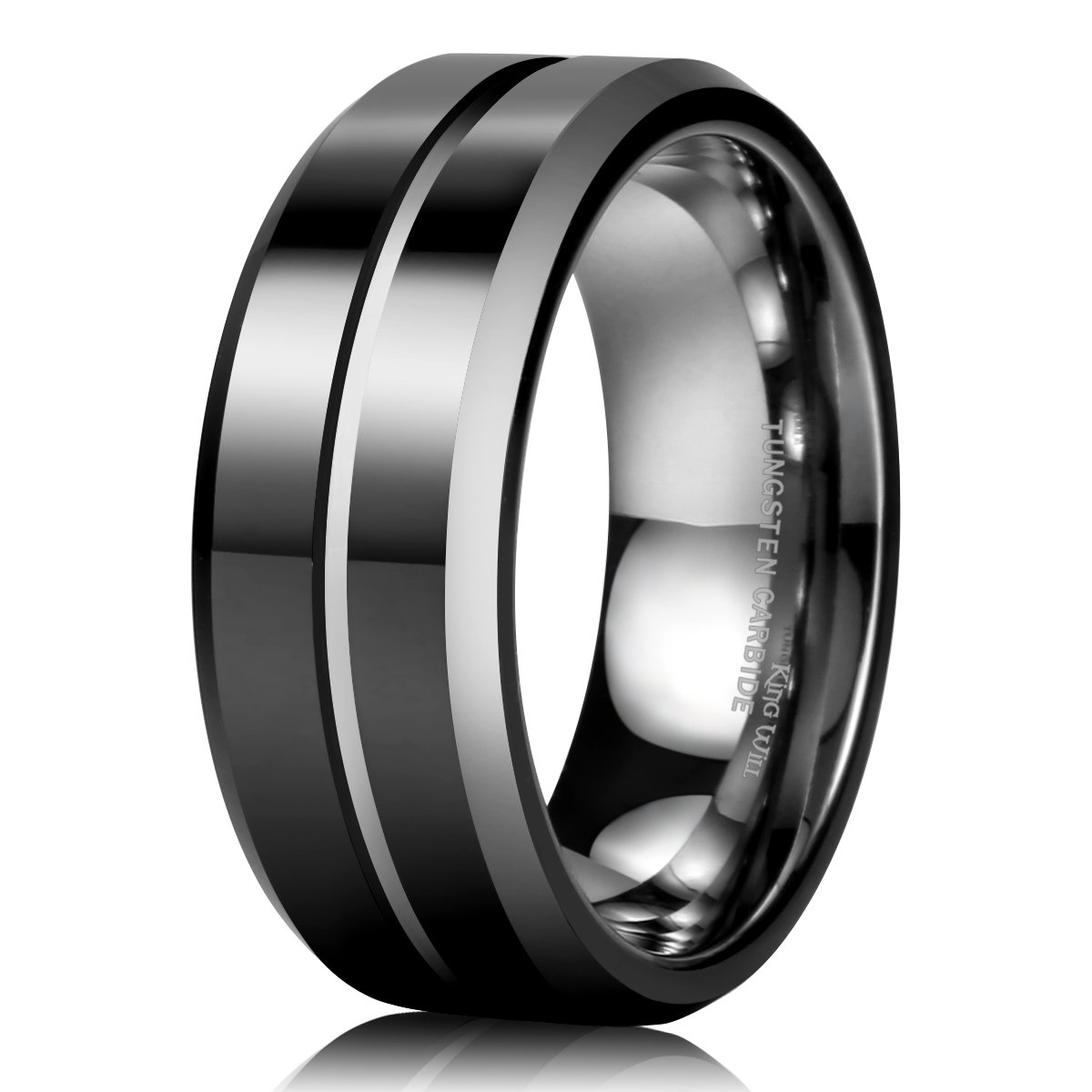 King Will Mens 8Mm Black Mens Tungsten Ring Wedding Band Grooved Center Polis.. 14