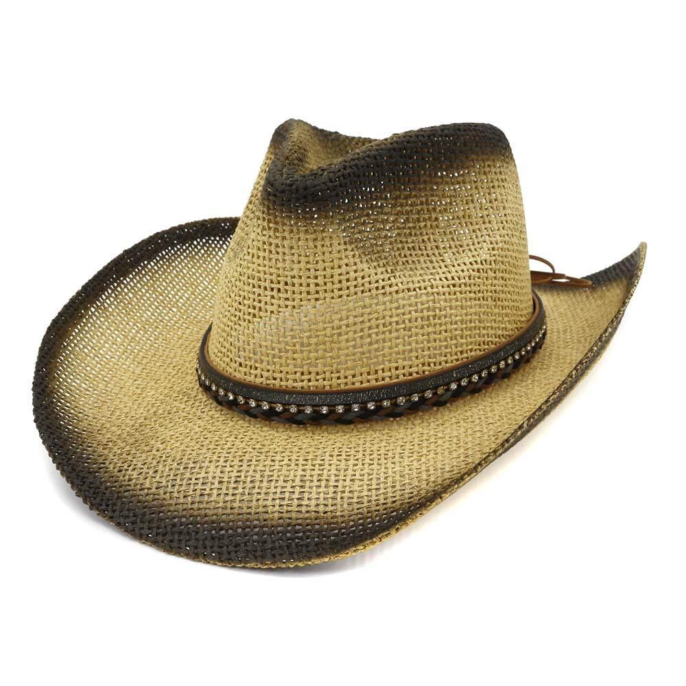 Color : 4, tama/ño : 56-58CM M.D.Y Gorra Hombre Vaquero Sombrero de Paja al Aire Libre Junto al mar Visera de Cuero Mujer Trenza con Gran Tapa de protecci/ón Solar Ajustable Sombrero