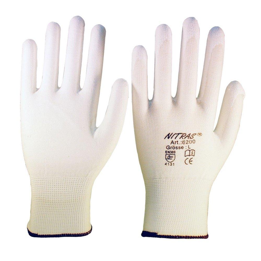 Lot de 12 paires de gants de travail NITRAS 6200 en NYLON - cuir PU - taille XL (9)