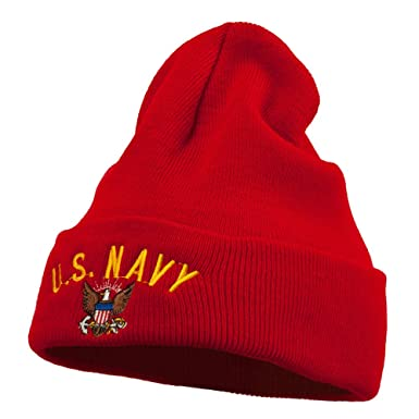 Amazon com: US Navy Logo Embroidered Long Beanie - Red OSFM