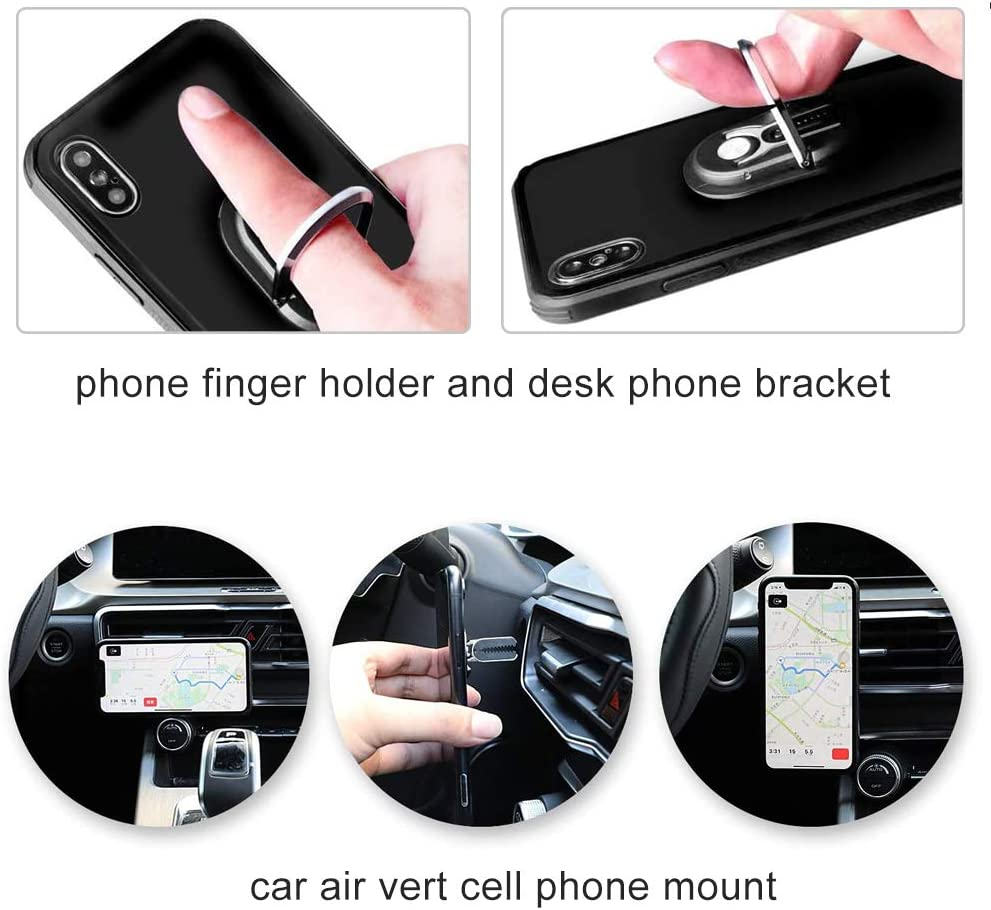 Silver,2pack OYEFLY 2 Pack Phone Ring Holder Multipurpose 360 Degree Vent Clip Phone Mount Phone Accessories for Car Mobile Smartphone Bracket Rotating Phone Holders Rotating