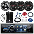 "JVC KD-AV41BT 3"" Car DVD Bluetooth Stereo Receiver Bundle Combo With 4x 6.5"" 300 Watt 2-Way Coaxial Speakers + 800-Watt 4-Channel Amplifier With Installation Kit, Enrock 22"" AM/FM Radio Antenna"