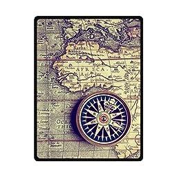 Antiquity Nautical World Map Custom Fleece Blanket 58\